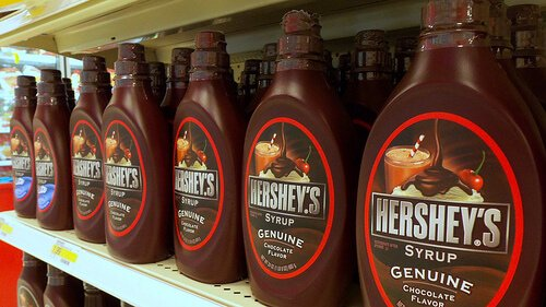 Chocolate syrup bottles