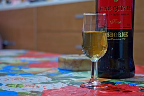A glass of sherry wine