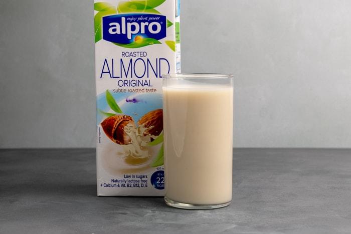 Almond milk carton and glass