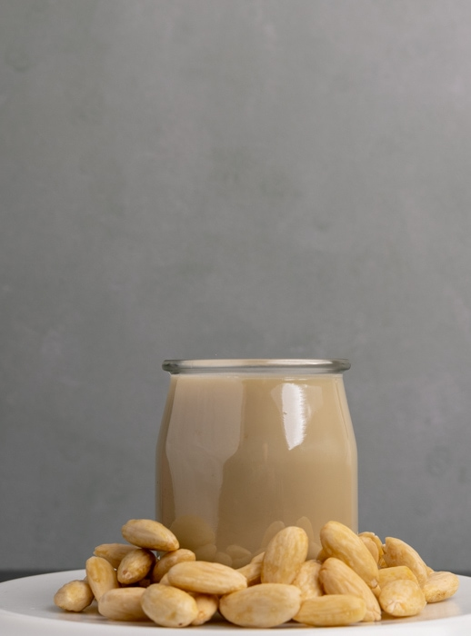 Almond milk in a glass jar