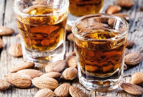 Amaretto liqueur with dry almonds