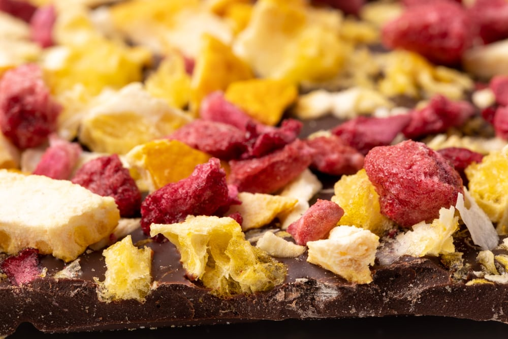 Artisan chocolate sprinkled with dried fruit