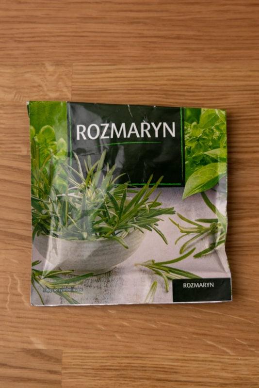 Folded bag of dry rosemary