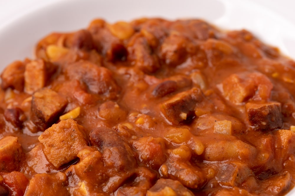 Baked beans plated