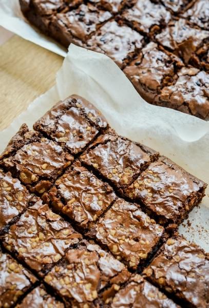 Bake brownies cut in squares