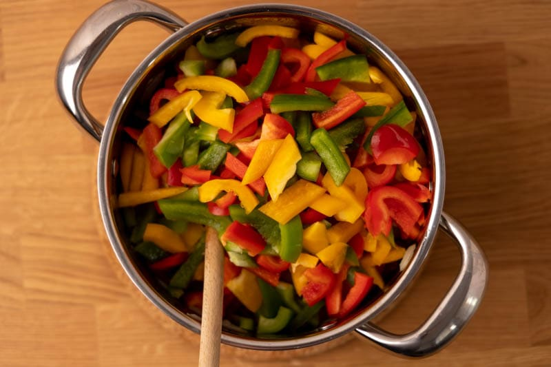 Bell peppers in a pot