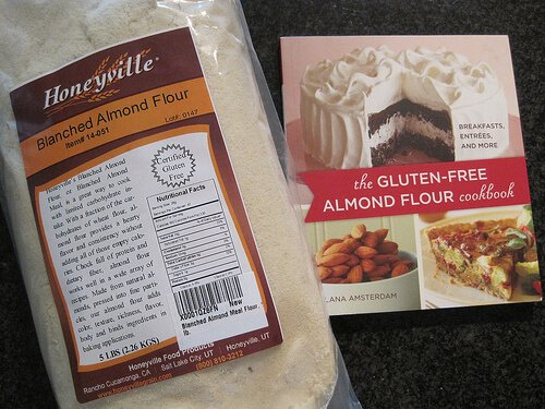 Bag of almond flour and a cookbook