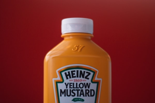 Bottle of Heinz yellow mustard