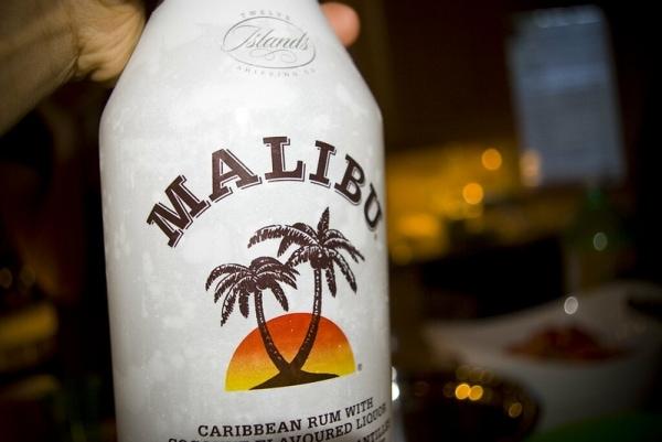 Bottle of Malibu rum closeup