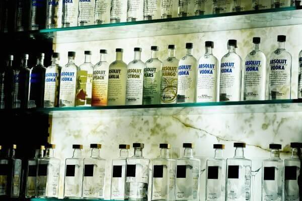Bottles of vodka on the shelf