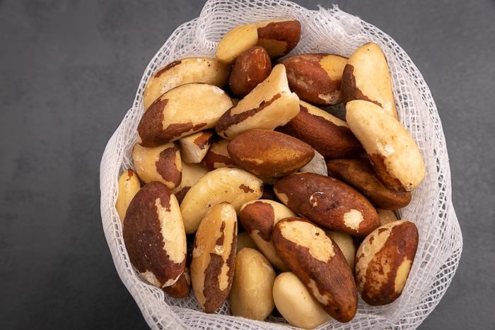 Brazil nuts in a mesh bag