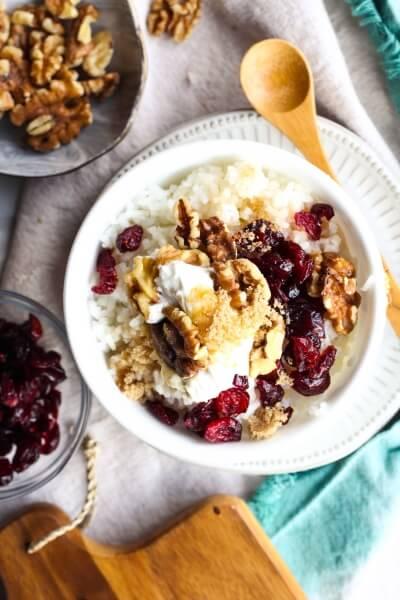Breakfast Bowl made with Jasmine Rice, Greek yogurt, walnuts and dried cranberries
