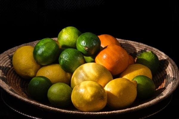 A bunch of citrus fruits