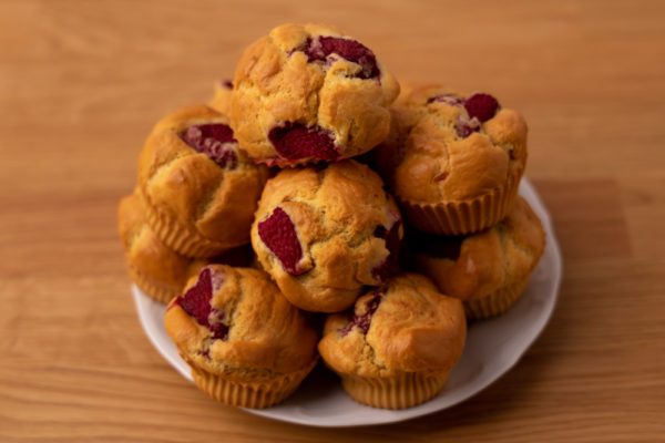 Bunch of raspberry muffins