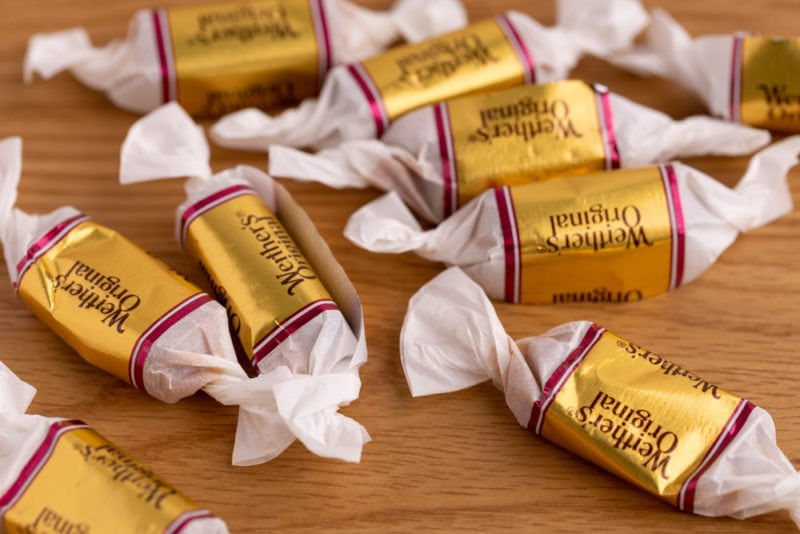 Bunch of wrapped caramels