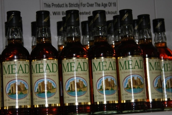 A bunch of Bunratty mead bottles