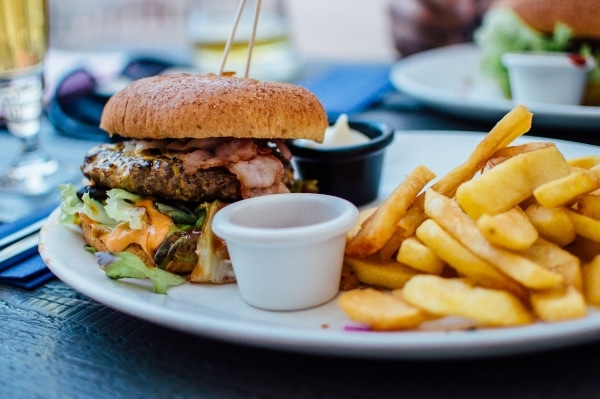 Burger with bacon, and fries