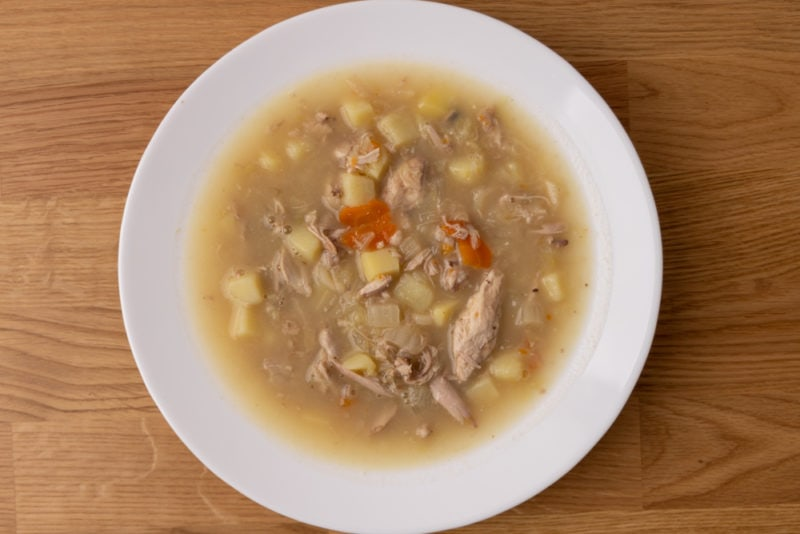 Cabbage soup with potatoes and chicken