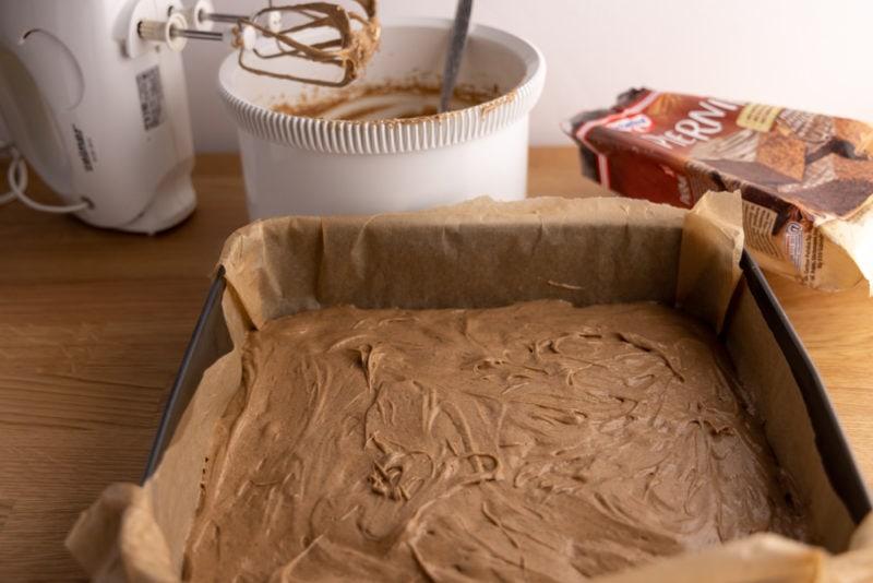 Cake batter ready for baking