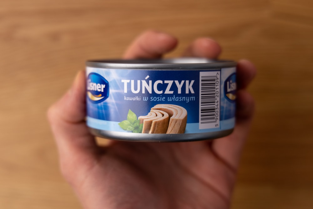 Canned tuna in hand