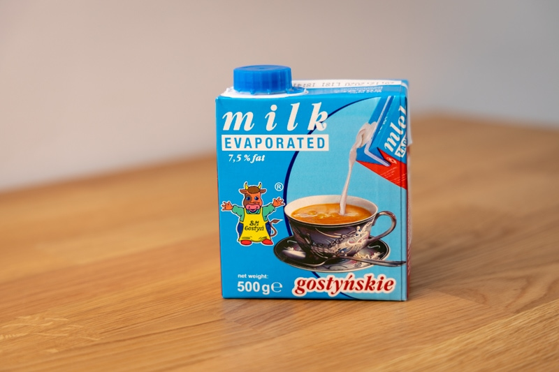 Carton of evaporated milk