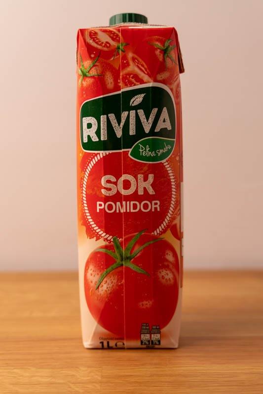 Carton of tomato juice