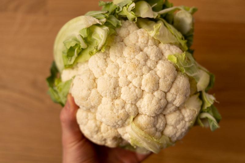 Cauliflower head in hand