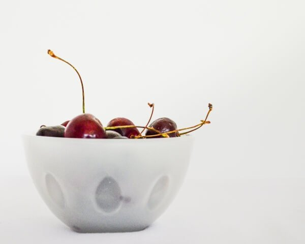 Red cherries in a bowl