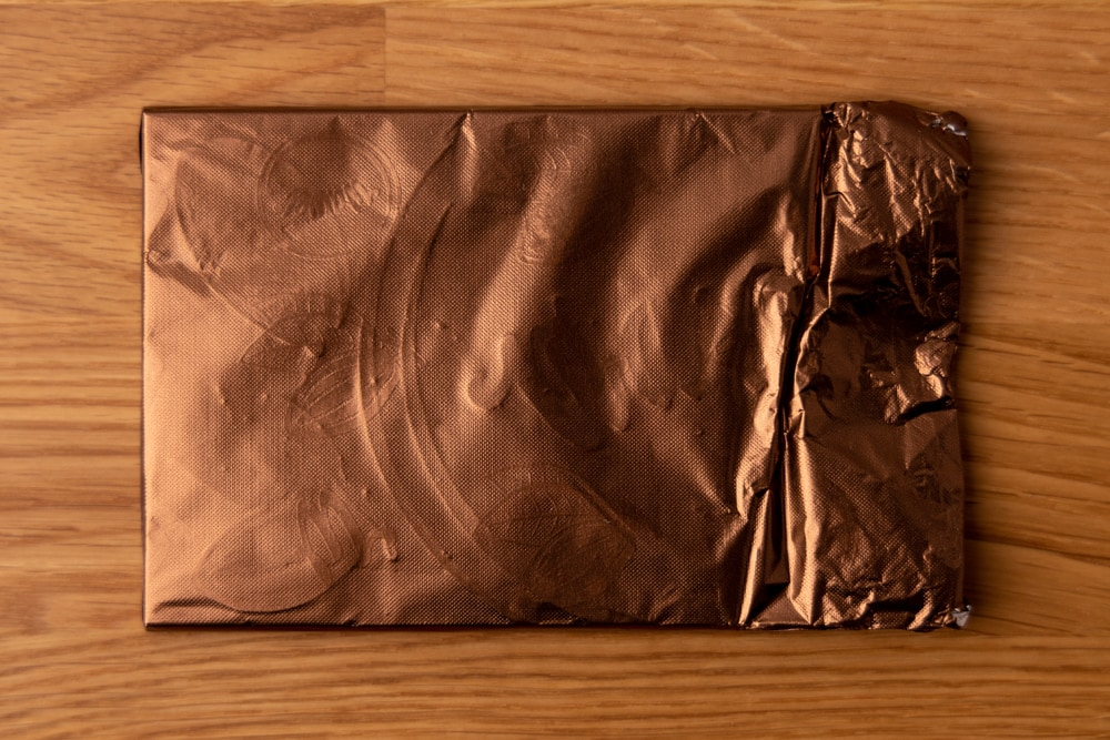 Chocolate wrapped in its foil