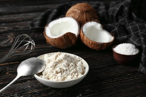 Coconut flour in a ceramic bowl