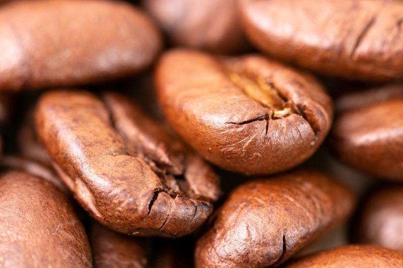 Closeup on coffee beans