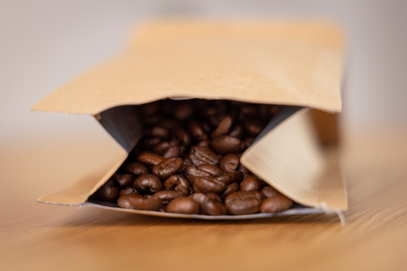 Coffee beans in a package