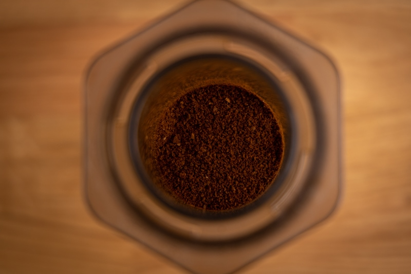 Coffee grounds ready for water