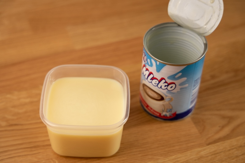 Condensed milk in a container