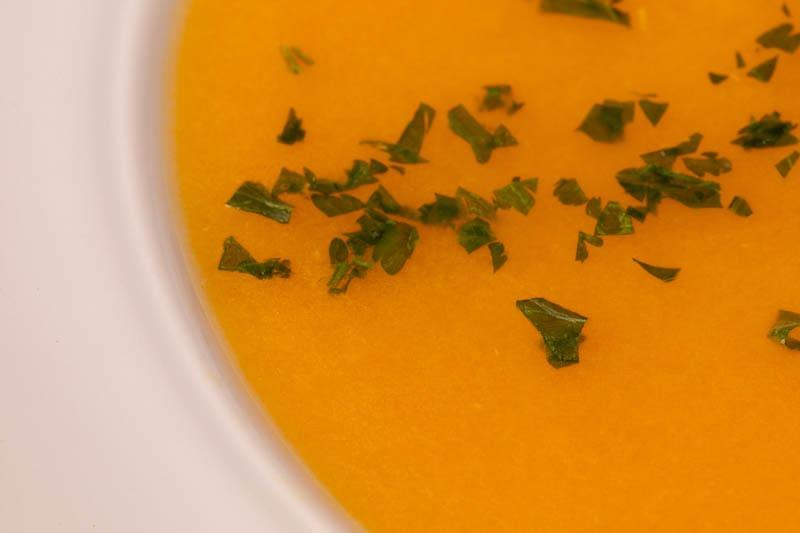 Creamy carrot soup closeup