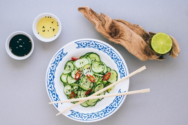 Cucumber salad with sesame seeds, dressed with rice vinegar, lime and sesame oil