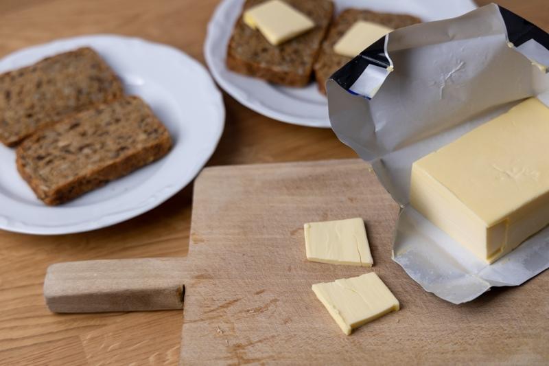 Sliced frozen butter softens on bread
