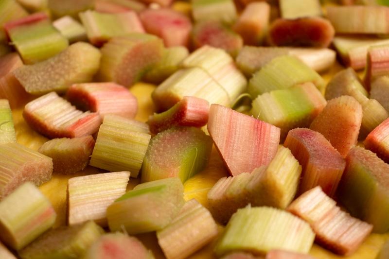Rhubuarb diced for rhubarb pie