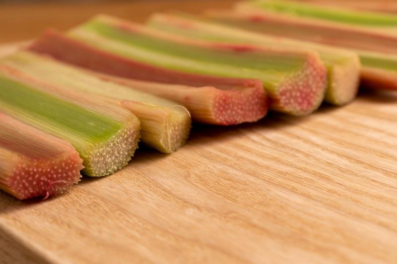Cut rhubarb stalks