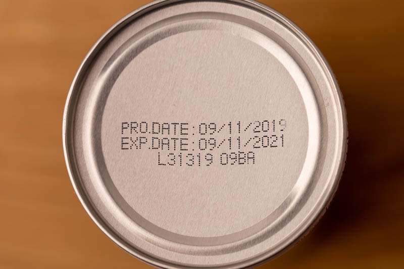 Date on coconut water can