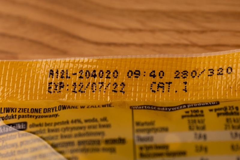 Date on olives package