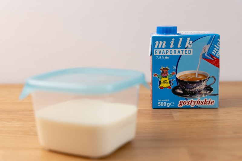 Evaporated milk and its carton