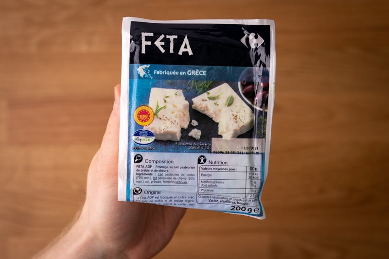 Feta block in hand