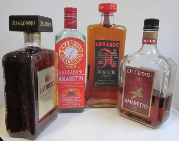 Four bottles of various amaretto brands