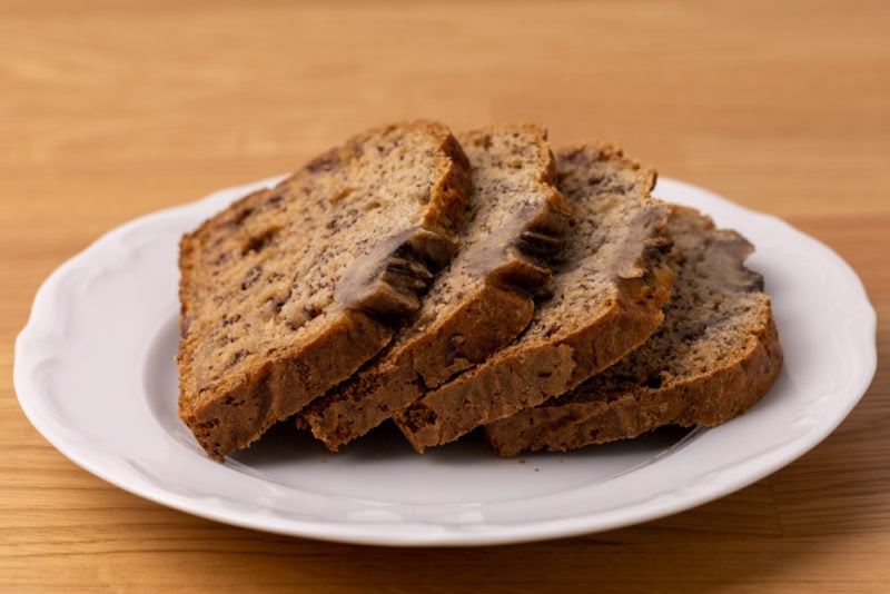 Four slices of banana bread