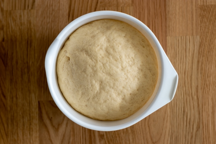 Fresh yeast dough after rising