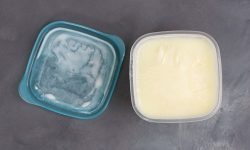 Frozen buttermilk in a container