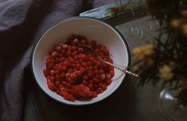 Frozen cranberries in a bowl