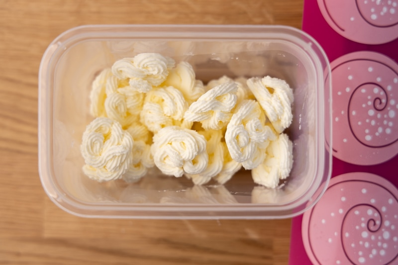 Frozen whipped cream in a container
