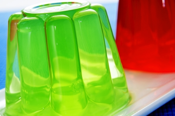 Plate with refreshing gelatin desserts of different flavors